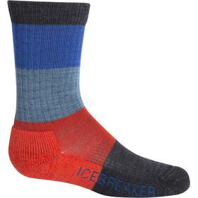 Icebreaker Hike Light Crew Macro Stripe Socks Kids Jet Heather/Chili Red